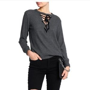 LNA Lace Up Waffle Knit Sweater